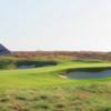 A view of a hole protected by bunkers at Nantucket Golf Club