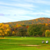 A fall day view of a hole at Canaan Country Club.